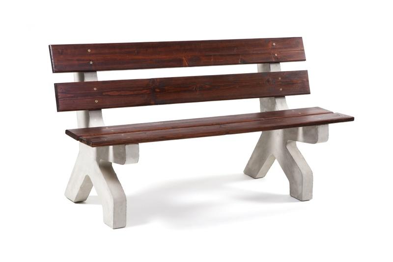 Betonová lavička s opěradlem