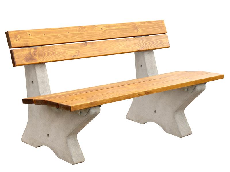 Betonová parková lavička s opěradlem